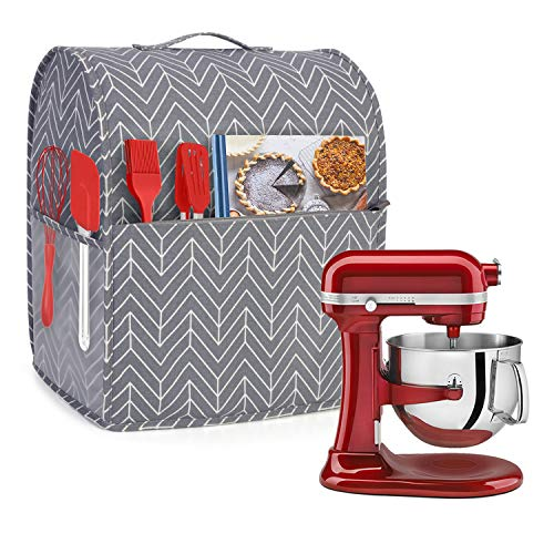 Yarwo Dust Cover for 6-8 qt Stand Mixer, Cotton Canvas Protective Stand Mixer Cover with Top Handle and Pockets for Extra Accessories, chevron Nevada