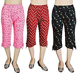 (Pack of 3) Girls Beautiful Printed Cotton Capri 3/4,