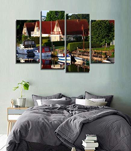 MengJing painting 4 pintura decorativa de arte de pared Marco de madera, varios tamaños 120 * 80 CM 4 piezas moderna ciudad holandesa lienzo arte pintura en la pared cuadros modulares vintage decoraci