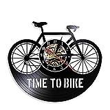 CHENSHENG Tiempo for Bicicletas Cita de la inspiración Decoración de Bicicletas de montaña Reloj de Pared de antaño de Bicicletas Ciclista Reloj de Pared Retro (Color : Without LED, Size : Gratis)