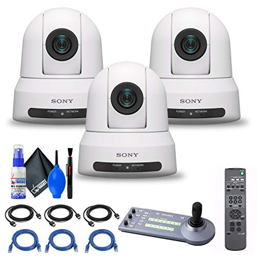 3 x Sony SRG-X400 1080p PTZ Camera with HDMI, IP & 3G-SDI Output (SRG-X400/W) + Sony RM-IP10 IP Remote Controller + 3 x Ethernet Cable + Cleaning Kit + 3 x HDMI Cable - Bundle