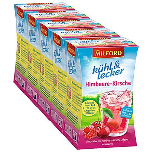Milford kühl & lecker Himbeere-Kirsche, 20 Teebeutel, 5er Pack