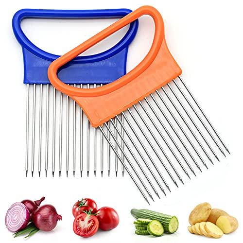 Supporto per Affettatrice per Cipolle, 2 pezzi per Tagliaverdure e Pomodori in Acciaio Inossidabile, Gadget da Cucina Tenderizer Pine Needle Steak Maiale Tender Hammer