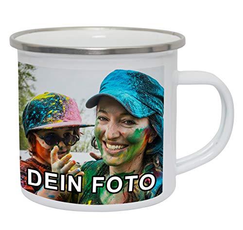 Emaille Tasse mit Foto Bedrucken Lassen | Camping Becher selbst gestalten mit eigenem Bild und Text | Geschenk-Idee für Camper, Opa, Oma, Papa, Mama u.v.m.