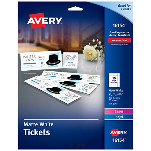 Avery Blank Printable Tickets, Tear-Away Stubs, Perforated Raffle Tickets, Pack of 200 (16154)