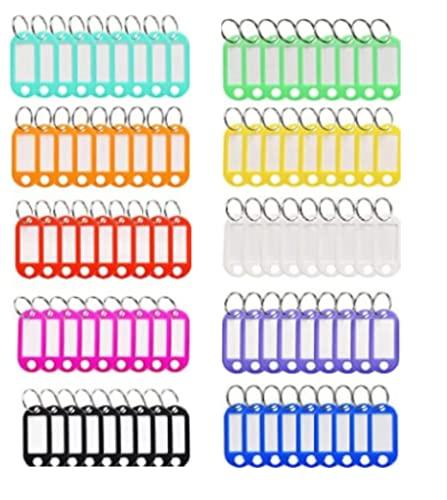Paquete de 100 Llavero etiquetar , etiqueta para llavesen plástico de colores para surtidos surtidos etiqueta para llaves para oficinas en el hogar Etiqueta de equipaje