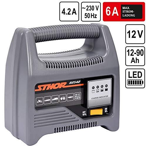 STHOR Profi KFZ-Batterieladegerät | 12 Volt | 6A | 12-90Ah | LED-Anzeige | optimaler Ladestrom | Batterie Ladegerät Starthilfe