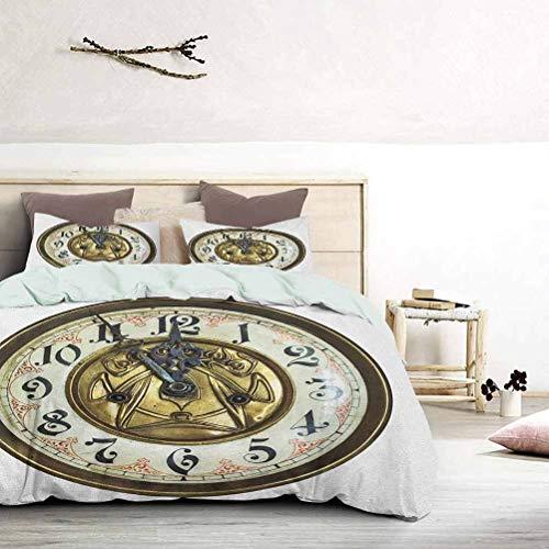 UNOSEKS LANZON Funda de cama con tema antiguo un reloj vintage con una cara en ella, diseño moderno y elegante, funda de edredón de estilo moderno, color magnífico, color dorado y blanco, tamaño king