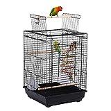 Yaheetech Gabbia per Uccelli Pappagalli Inseparabili Voliera in Metallo con Tetto Apribile Posatoio in Legno e Giocattolo 40 x 40 x 58 cm
