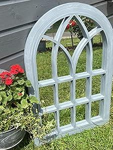 Marissa's Garden & Gift - Grey with white touch Outdoor/Indoor lightweight any weather mirror 76cm x 51cm x 4cm