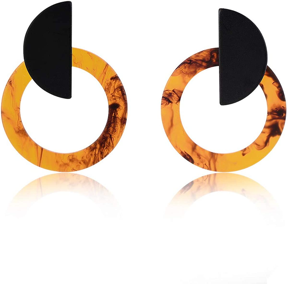 IDB Delicate Acetate Circle Push-Back Earrings with a Stainless Steel Post- Available in Marble in Gold fire Tones
