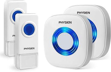 ワイヤレスチャイム PHYSEN 呼び出しチャイムセット 最高300Mの無線範囲 呼出音楽52メロディー選択可 ドアベル インターホン 呼び鈴玄関 (受信機2個 押しボタン防水 防塵送信機2個)
