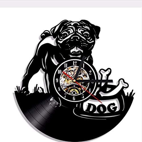 Leuke Engelse moderne LED hanglamp Pug Dog Puppy Animal Wall Watch decoratieve verlichting Vinyl Record wandklok