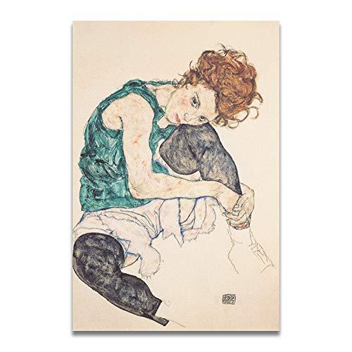 yaoxingfu Rahmenlose Egon Schiele Körperfarbe Abgrenzung Skizze Abbildung Leinwand Kunstdruck ng Poster, Wandbilder Für Wohnzimmer, Haus 50x70 cm