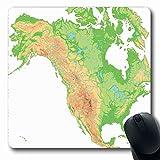Alfombrillas para mouse para computadoras Forma oblonga Terreno Canadá Mapa de relieve físico de América del Norte de alto nivel detallado Elevación topográfica de América México Alfombrilla de ratón