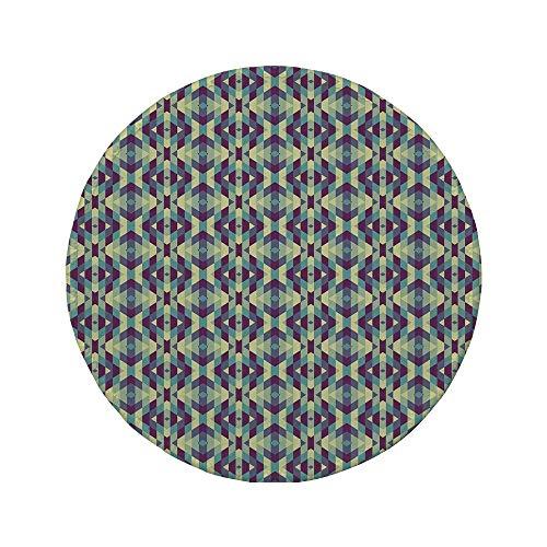 Rutschfreies Gummi-rundes Mauspad Retro grafische Diamantformen Streifen Altmodische geometrische symmetrische Fliesen cremefarbenes hellblaues Indigo 7,87 'x 7,87' x 3 mm