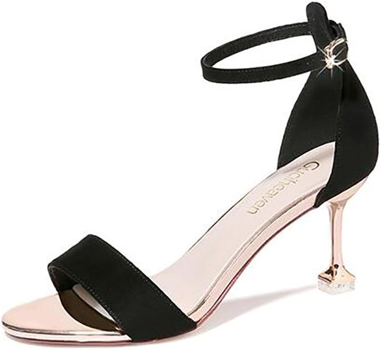 Damen Niedrige Ferse Block Peep Toe Damen Damen Damen Ankle Strap Party Riemchensandalen Flache Sandalen,Mode Sandalen (Farbe   A, größe   38)  dc2eff