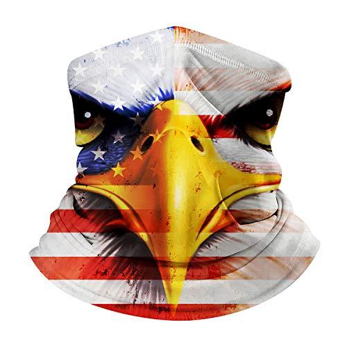 American Flag Eagle Print Non Slip Seamless Dust Men & Women Face Mask for Outdoor Sports Neck Gaiter Cover Scarf Bandana (Pattern 16)