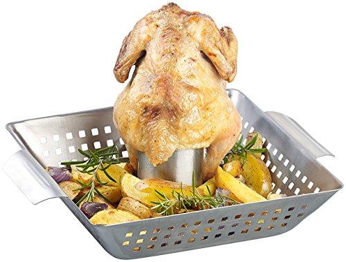 Rosenstein & Söhne Hähnchengrill: BBQ-Hähnchen-Griller mit Aroma-Behälter für ganze Hähnchen (Hähnchenbräter)