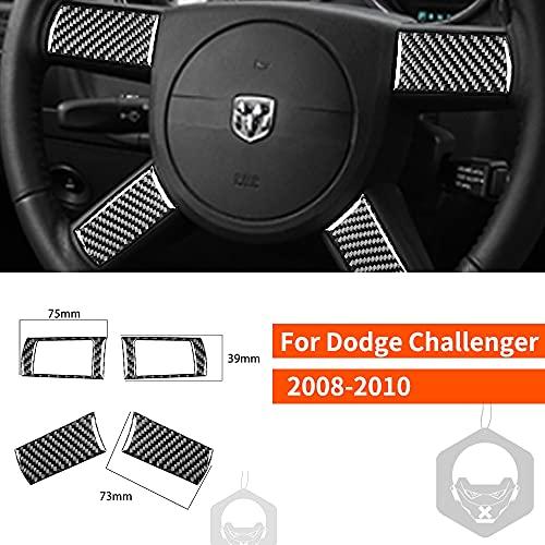 ADHUMER Pegatina de fibra de carbono Botón de volante Botón Acento Cubierta de ajuste modificado Compatible para Challenger 2008-2010 Accesorios...