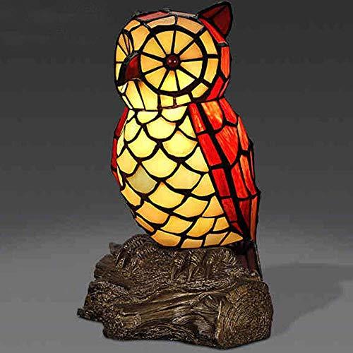 DIMPLEYA Lámpara de Escritorio Tiffany Style Mesa Lámpara de Mesa Maternidad Noche Luz Manchado Manchado Lindo Owl W14 * H25CM