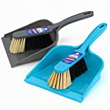 MR. SIGA Dustpan and Brush Set, Pack of 2 Set, Blue & Grey