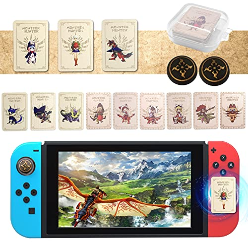 12PCS for Monster Hunter Stories 2 Wings of Ruin Amiibo Cards with 2PCS Thumb Grips, Mini Amiibo Cards Include ENA/Razewing Ratha/Tsukino, MHR NFC Tag Game Cards for Switch/Switch Lite/Wii U/New 3DS