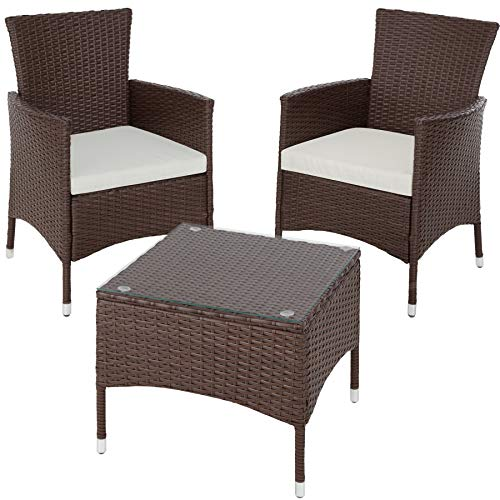 TecTake Set de jardín de poli ratán | 2 sillones y pequeña mesa con placa de cristal | Marco resistente de acero - disponible en diferentes colores - (Mixed-marrón | No. 402863)
