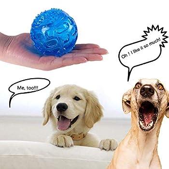 PETTOM Balles Jouets Sonore 3 Pcs pour Chiens Caoutchouc Solide Et Résistant Indestructible Rebondissante pour Entraînement