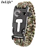 Paracord Bracelet, Outdoor Survival Gear Fire Starter Whistle Compass Emergency Knife, Perfect