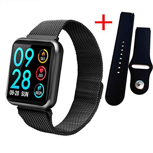 GLO BUY Upgraded Version of The Smart Watch Ladies Men's Fashion IP68 Waterproof Sports Fitness Tracker Heart Rate Brim Smartwatch VS P68 P70 Bracelet,Black