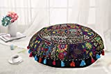 DK Homewares Round Bohemian Floor Pillow Adult Black 22 Inch Patchwork Lounger Pouffe Footstool Home Decor Embroidered Vintage Cotton Indian Floor Cushion for Kids 22x22