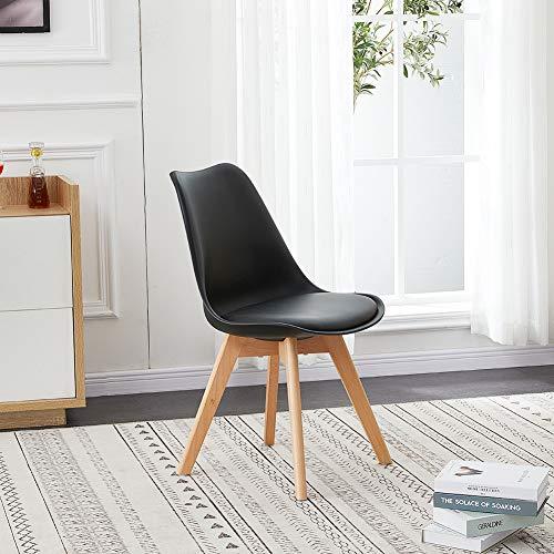 TUKAILAI 1pcs Schwarz Tulpenstühle Esszimmerstühle mit massiven Holzbeinen