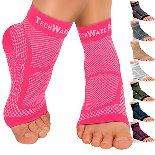 TechWare Pro Ankle Brace Compression Sleeve - Relieves Achilles Tendonitis, Joint Pain. Plantar Fasciitis Foot Sock with Arch Support Reduces Swelling & Heel Spur Pain. (Pink, S/M)