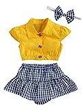 Conjunto Verano Niña 3PC Top Corto Mangas Cortas Cuello de Pico Pantalones Cortos con Volantes y Estampados de Cuadros Diadema de Lazo Ropa de Juego para bebés (Amarillo, 3-6 Meses)