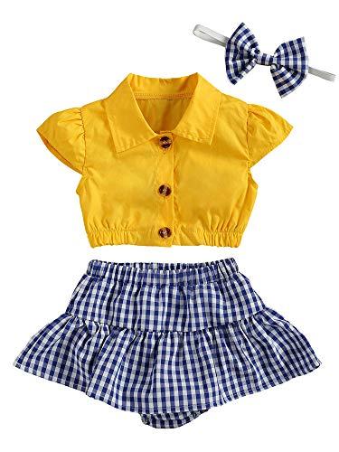 Conjunto Verano Niña 3PC Top Corto Mangas Cortas Cuello de Pico Pantalones Cortos con Volantes y Estampados de Cuadros Diadema de Lazo Ropa de Juego para bebés (Amarillo, 12-18 Meses)