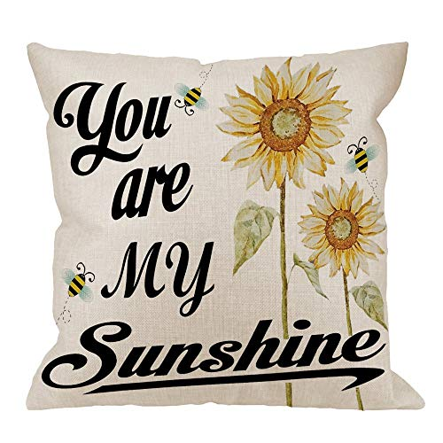 You are My Sunshine Pillow Case, Quote with Bees and Yellow Sunflowers Cotton Cushion Cover Square Standard Home Decorative for Men/Women White Black Yellow,45x45CM