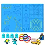 3D Printing Pen Mat, Large Multi Patterns Silicone Printing Pen Basic Template Pad with 4 Finger Protectors and 6 Colors 3D Pens Filament, 3D Pen Drawing Tools for Beginners/Kids/Adults