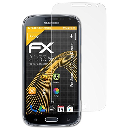 atFolix Panzerfolie kompatibel mit Samsung Galaxy K Zoom Schutzfolie, entspiegelnde & stoßdämpfende FX Folie (3X)