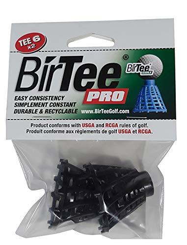 BirTee Pro Golf Tees - Size #6 (1 1 2 ) Individual Size Pack - 2 Tees Per Pack. Winter Mat Simulator Tees (Black)