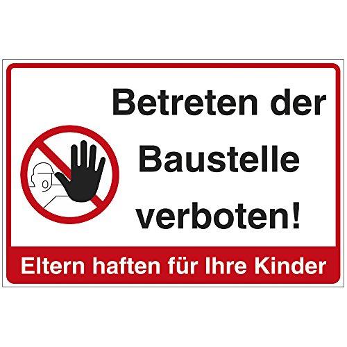 Schild Betreten der Baustelle verboten in Mehreren Sprachen aus Alu/Dibond 300x200 mm - 3 mm stark