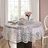 62 Inch Round White Lace Tablecloth. - for 4 People Table Seating. Tablecloth Size 62' for Table Size 22'-44' Seats 4 People (160 cm ≅ 62 inch Round)