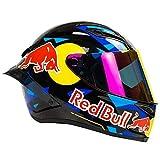 Casco de motocicleta de campo traviesa, integral Red Bull Casco de motocicleta campo traviesa Certificación ECE motocicleta de hombre Carreras montaña Ciclismo descenso Cara completa A,XXL (63-64cm)
