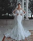 Vestido de Novia, para la Novia de Encaje Elegante ilusión Perlas de Manga Larga con Cuello en v Piso-Longitud Flor Sirena Vestido de Novia Blanco Personalizable US:12