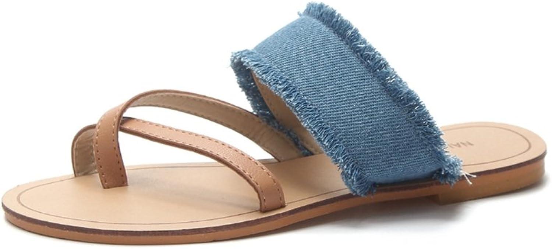 Womens Ladies Denim Roman Open Toe Flat Flip Flops Comfy Slip on Dress Thongs Walking Summer Beach Sandals