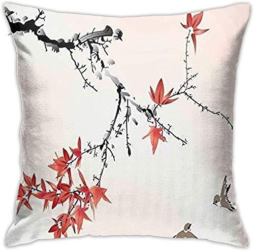 BONRI Fodere per Cuscino Acquerello Giapponese Cherry Blossom, Federa per Cuscino per Divano Divano , (16'x16 / 40x40 cm