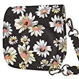 WOLVEN Protective Case Bag Purse Compatible with Fuji Instax Instant Mini 9 / Mini 8 / Mini 8+ Instant Camera, Black Flower Floral