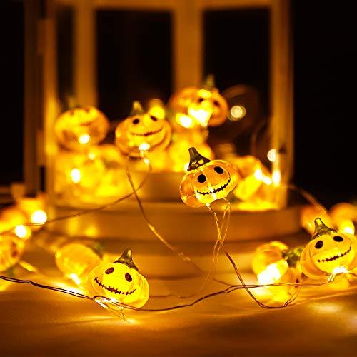 Halloween KüRbis Deko, 3m 30 Led Halloween Lichterkette 3D KüRbis, 8 Flimmer Modi Halloween Led Lichter, Lichterkette Herbst mit Fernbedienung & Timer für AußEn Party Garten Thanksgiving