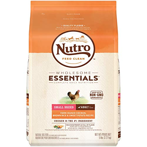 NUTRO WHOLESOME ESSENTIALS Small Breed Adult Natural Dry Dog Food, Farm-Raised Chicken, Brown Rice & Sweet Potato Recipe Dog Kibble, 5 lb. Bag