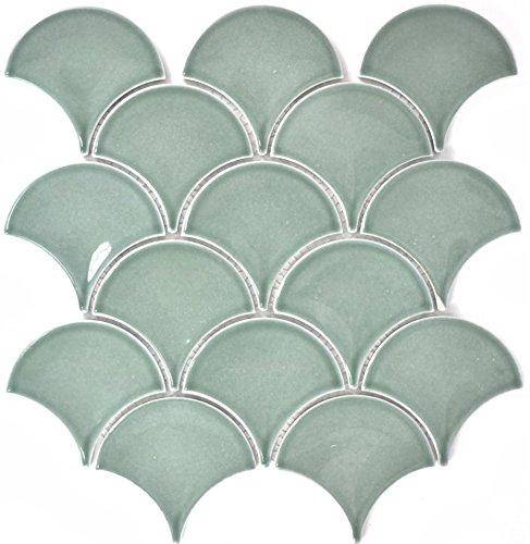 Mosaik Fliese Keramik Fächer petrol glänzend für WAND BAD WC DUSCHE KÜCHE FLIESENSPIEGEL THEKENVERKLEIDUNG BADEWANNENVERKLEIDUNG Mosaikmatte Mosaikplatte